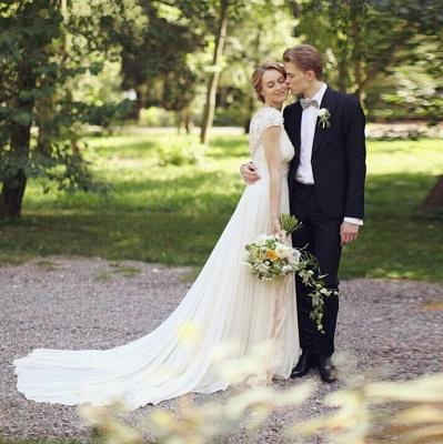 Forme Princesse Traîne moyenne Col en V Mousseline polyester Nouveau Robes de mariée A-ligne avec Fleurs_3