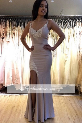 robe de soirée longue sirène avec fente en appliques dentelles_1