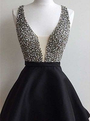 Forme princesse robe de soirée courte col en V couleurs au choix_1