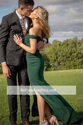 robe de soirée longue sirène épaules nues avec fente_2
