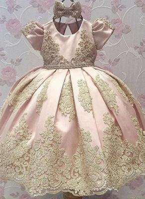 Robe fillette princesse mignon avec dentelle | Robe d'enfant princesse longue chic avec nœuds à boucles_1