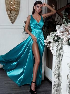 Robe de soirée longue brillante fendue devant | robe de soirée cérémonie sexy_1