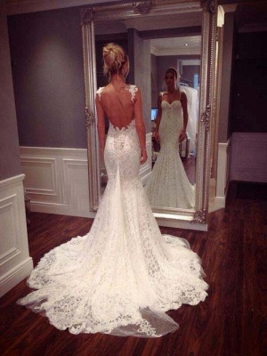 Vestido de Novia dentelle romantique sirène Robes de mariée bretelles spaghetti_2