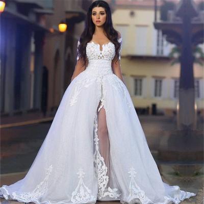Forme Princesse Traîne moyenne Col U profond Tulle Robes de mariée 2021 avec Appliques_3
