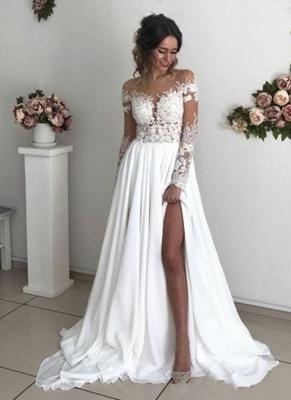 Robe de mariée princesse longue avec dentelle épaules nues | Robe de mariage longue_1