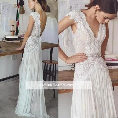 Forme Princesse Longueur ras du sol Col en V Mousseline polyester Robes de mariée 2020 avec Dentelle_4