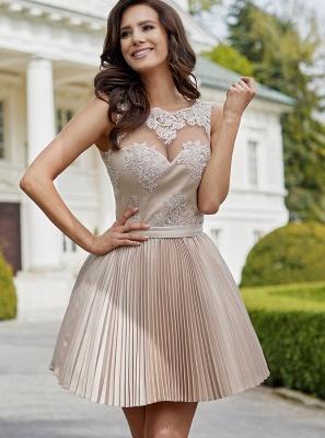 Robe de soirée princesse courte dentelle chic | Robe de cocktail princesse mini sans manches_1