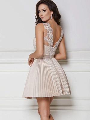 Robe de soirée princesse courte dentelle chic | Robe de cocktail princesse mini sans manches_2