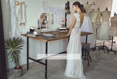 Forme Princesse Longueur ras du sol Col en V Mousseline polyester Robes de mariée 2020 avec Dentelle_3