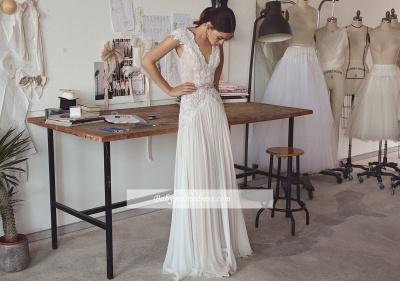 Forme Princesse Longueur ras du sol Col en V Mousseline polyester Robes de mariée 2020 avec Dentelle_2