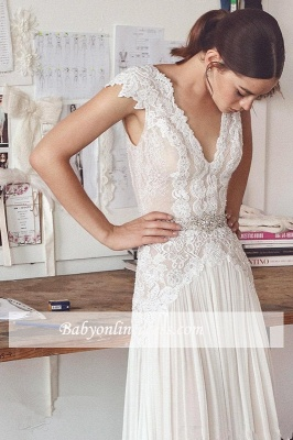 Forme Princesse Longueur ras du sol Col en V Mousseline polyester Robes de mariée 2020 avec Dentelle_5