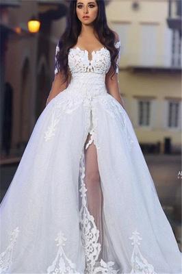 Forme Princesse Traîne moyenne Col U profond Tulle Robes de mariée 2021 avec Appliques_1