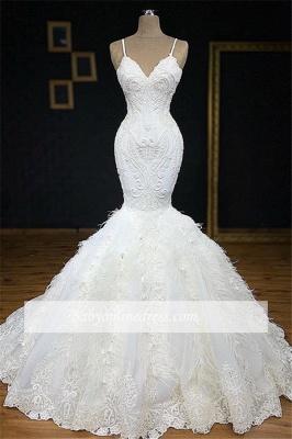 Robe de mariée longue sirène bretelles en appliques dentelles avec plume_2