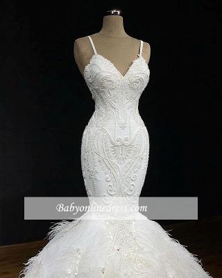 Robe de mariée longue sirène bretelles en appliques dentelles avec plume