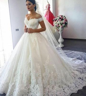 Forme Princesse Traîne mi-longue Col en cœur Dentelle Robes de mariée avec Appliques_3
