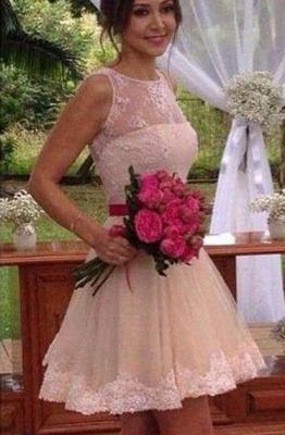 Forme princesse robe demoiselle d'honneur courte dentelle délicat transparent boutonnage dans le dos_1