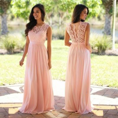 Forme A-line robe de cérémonie en dentelle délicat mousseline polyester longueur sol couleurs au choix_11