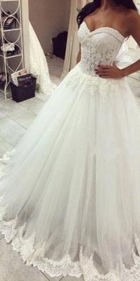 Forme Princesse Traîne moyenne Col en cœur Tulle Robes de mariée avec Dentelle_2