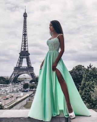 Forme Princesse Bretelles spaghetti Longueur ras du sol Robes de soirée avec Fendue devant_1