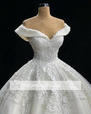 Robe de mariée longue princesse en appliques dentelles