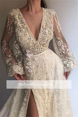 Robe de bal princesse dentelle col en V | Robe de soirée princesse manches bouffantes_1