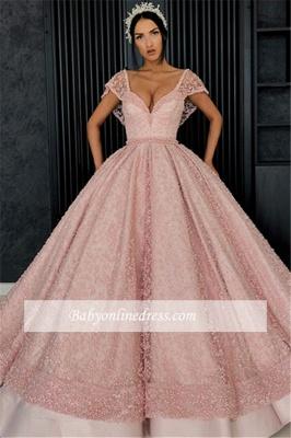 Robe de bal princesse chic avec perles | Robe de soirée princesse col en V_5