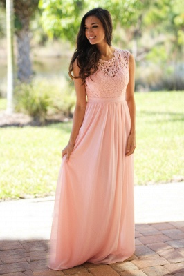 Forme A-line robe de cérémonie en dentelle délicat mousseline polyester longueur sol couleurs au choix_7