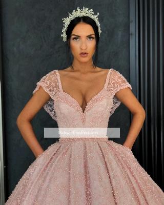 Robe de bal princesse chic avec perles | Robe de soirée princesse col en V_4