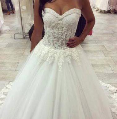 Forme Princesse Traîne moyenne Col en cœur Tulle Robes de mariée avec Dentelle_3