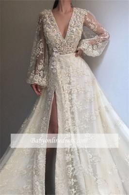 Robe de bal princesse dentelle col en V | Robe de soirée princesse manches bouffantes_2