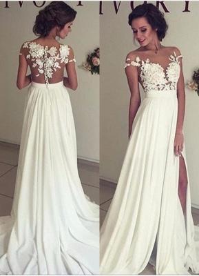 Robe de mariée A-ligne mousseline chic | Robe de mariage ligne A avec dentelle_1