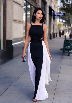 Forme A-Line Bretelles Longueur ras du sol Robes de soirée noir et blanche_1
