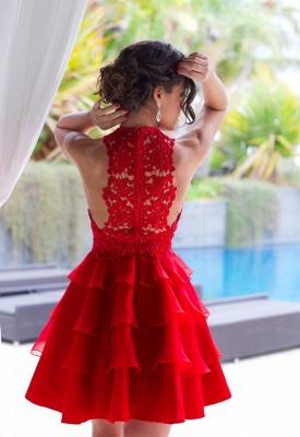 Classique robe de soirée court/mini en dentelle délicat et tulle couleurs au choix_3
