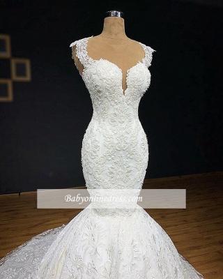 robe de mariée longue sirène en appliques dentelles avec traîne moyenne