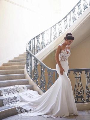 Robe de mariée sirène dentelle avec bretelles spaghetti   Robe de mariage trompette longue sexy_1