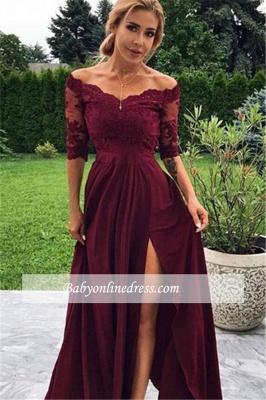robe de soirée longue épaules nues en dentelle avec fente_1