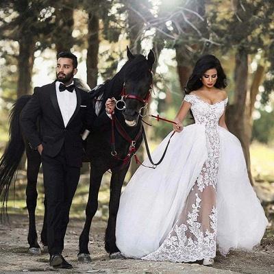 Forme princesse robe de mariée en dentelle et tulle épaules nu longueur sol_2