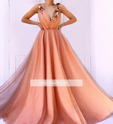 Robe de bal princesse chic avec fleurs | Robe de soirée princesse col en V_3