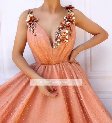 Robe de bal princesse chic avec fleurs | Robe de soirée princesse col en V_2
