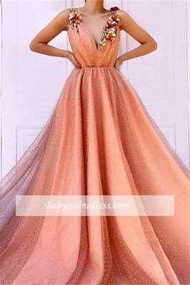 Robe de bal princesse chic avec fleurs | Robe de soirée princesse col en V_1