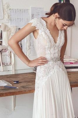 Forme Princesse Longueur ras du sol Col en V Mousseline polyester Robes de mariée 2021 avec Dentelle_1