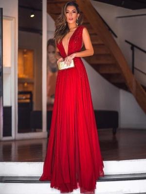 Robe de soirée fourreau longue col en V avec perles | Robe de cérémonie fourreau longue brillante sexy_1