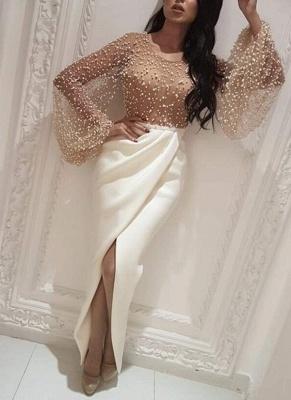 Robe de soirée sirène longue avec perles fendue devant | robe de cérémonie trompette longue chic_2