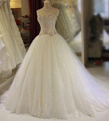Robe de mariée princesse tulle longue avec cristaux | robe de mariage chic_1