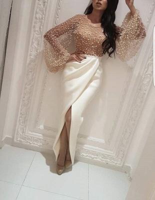 Robe de soirée sirène longue avec perles fendue devant | robe de cérémonie trompette longue chic_3