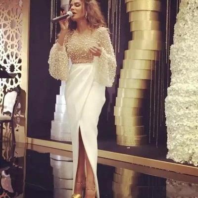 Robe de soirée sirène longue avec perles fendue devant | robe de cérémonie trompette longue chic_4