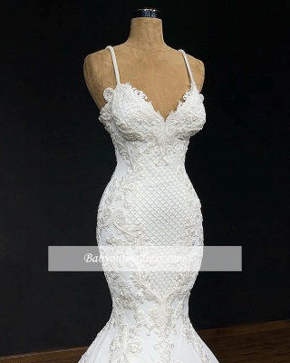 robe de mariée 2020 sirène bretelles spaghetti en dentelle_3