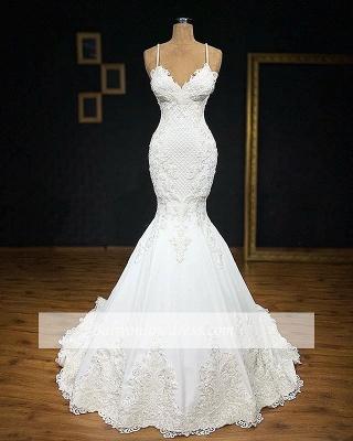 robe de mariée 2020 sirène bretelles spaghetti en dentelle_2