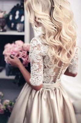 Forme princess robe de cérémonie en dentelle et satin avec manche mi-longue_1