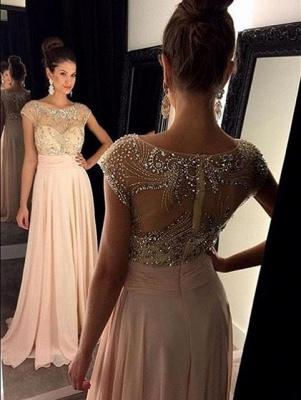 Forme Princesse Col U profond Mousseline polyester alayage/Pinceau train Robes de soirée avec Cristal_1